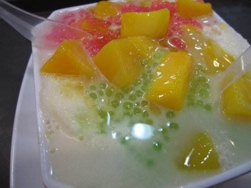 mango with pink and green sago!