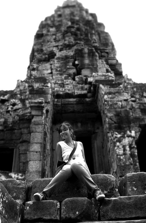 temple climbing in Siem Reap