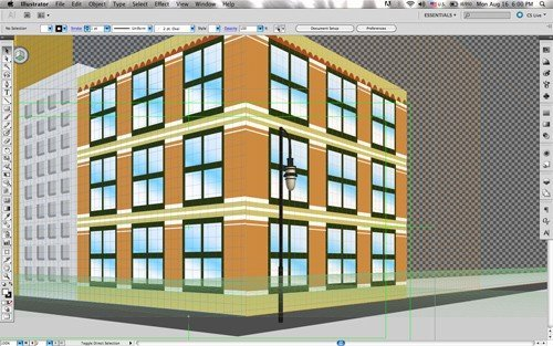 two-point perspective with flat objects and 3D objects