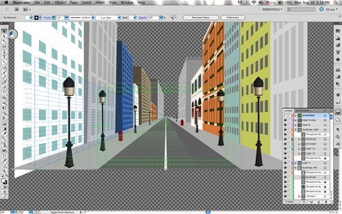 one-point perspective: with flat and 3D objects as well