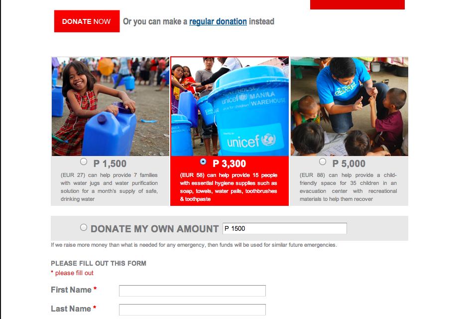Unicef Donation page screenshot