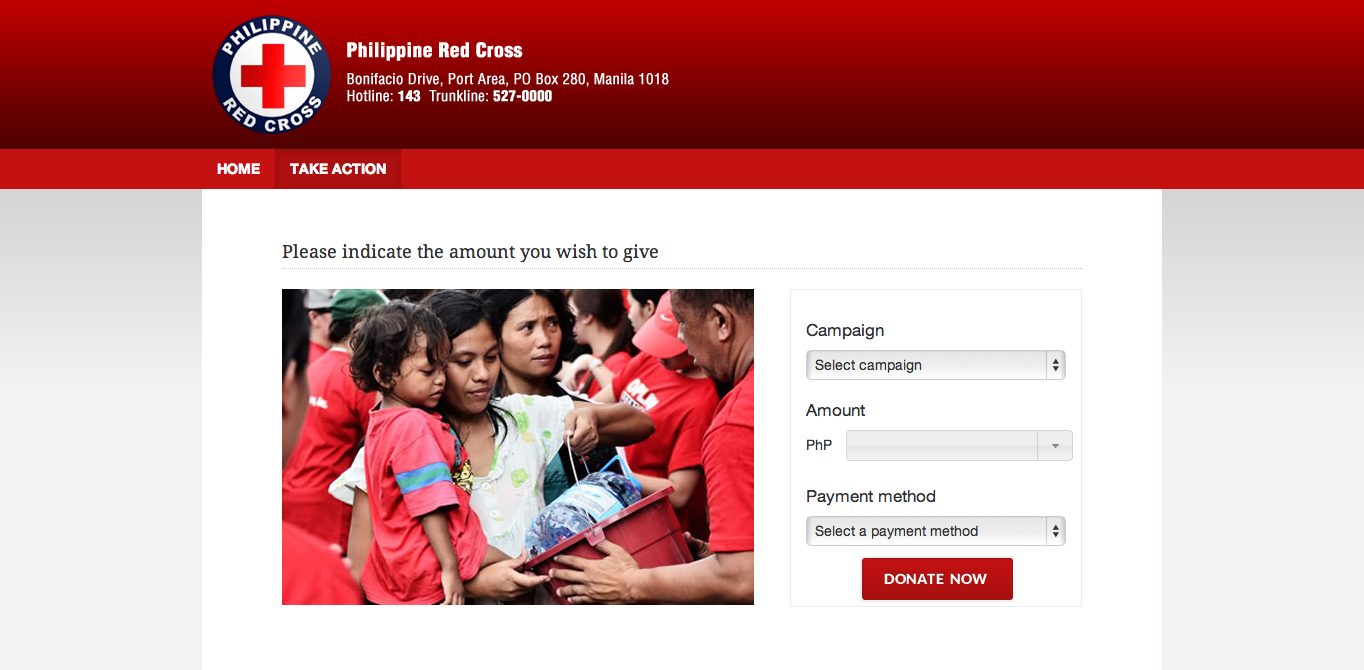 Red Cross donation page screenshot